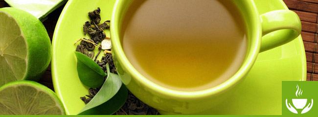 cup of green tea with lime